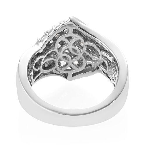 Designer Inspired- Diamond (Bgt) Ring in Platinum Overlay Sterling Silver 1.000 Ct,