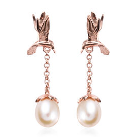 Freshwater Pearl Dangle Swooping Birds Earrings in Rose Gols Plated Silver
