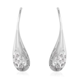 LucyQ Natural White Cambodian Zircon (Rnd) Drip Hook Earrings in Rhodium Overlay Sterling Silver, Si
