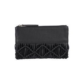 Hand Woven Macrame 100% Genuine Leather Clutch Wallet (Size 21x13cm) -  Black