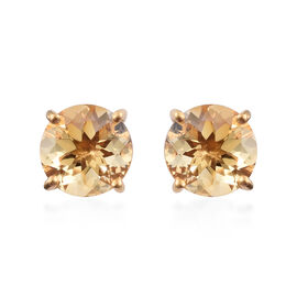 WEBEX- Brazilian Citrine (Rnd) Earrings (with Push Back) in 14K Yellow Gold Overlay Sterling Silver 3.500  Ct.