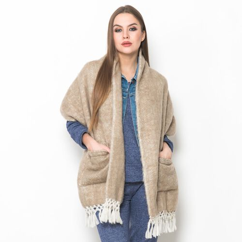 Designer Inspired - Beige Colour Winter Scarf with Pockets and Tassels (Size 175x45 Cm)