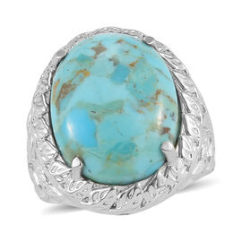 Constituted Turquoise Solitaire Ring in Stainless Steel 0.68 Ct.