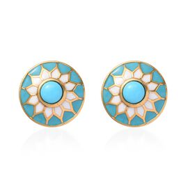 Arizona Sleeping Beauty Turquoise Enamelled Stud Earrings (with Push Back) in 14K Gold Overlay Sterl