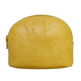 Assots London Lotty 100% Genuine Leather Zip Top Coin Purse in Yellow (Size 10x2x8.5 Cm)
