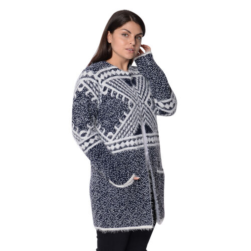 Soft and Smooth Winter Africa Addio Pattern Sweater Coat with 2 Pockets (Size 53x81 Cm) - Navy and White