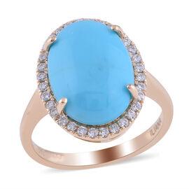 ILIANA 18K Yellow Gold AAAA Arizona Sleeping Beauty Turquoise (OV 14X10mm 4.00 Cts) and Diamond (G-H