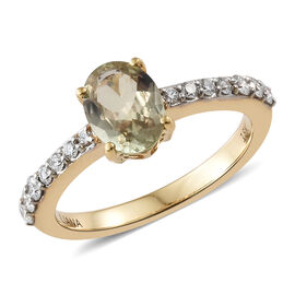 ILIANA 1.30 Ct AAA Turkizite and Diamond Solitaire Design Ring in 18K Yellow Gold 3.85 Grams SI GH