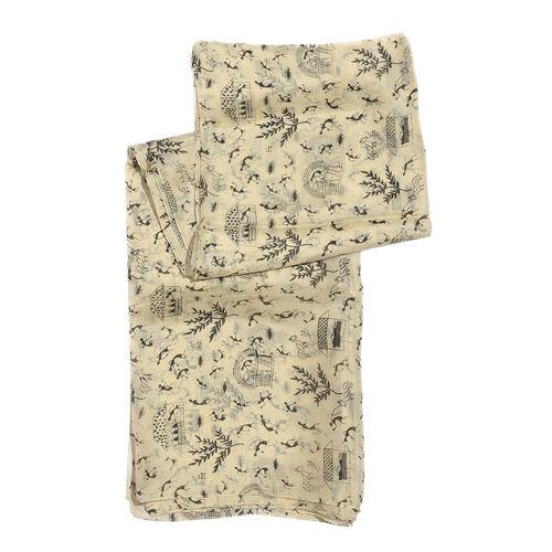 100% Mulberry Silk Black Colour Printed Cream Colour Scarf (Size 180x100 Cm)