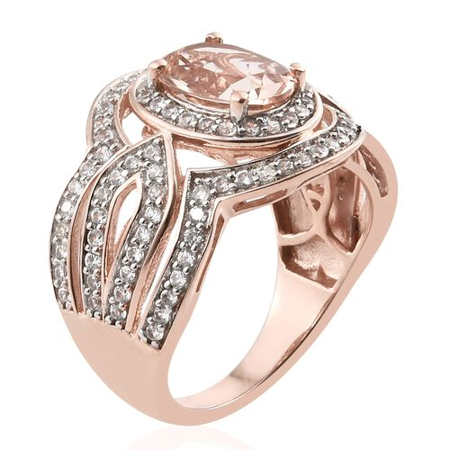 Very Rare Size Marropino Morganite (Ovl 10x8 mm), Natural Cambodian Zircon Ring in Rose Gold Overlay Sterling Silver 3.500 Ct. Silver wt 6.78 Gms. Number of Gemstone 111
