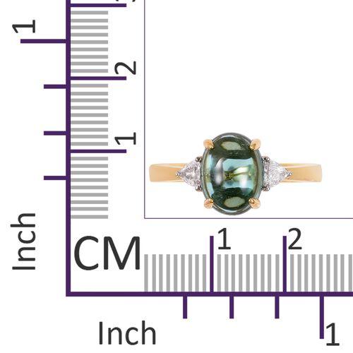 ILIANA 18K Yellow Gold AAA Monte Belo Indicolite (Ovl), Diamond (SI/G-H) Ring 2.810 Ct.