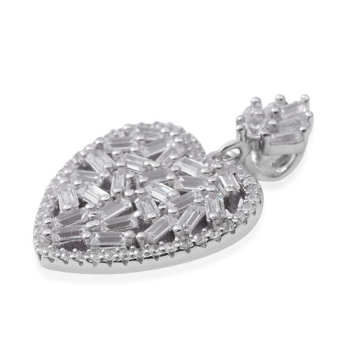ELANZA Simulated Diamond (Bgt) Heart Pendant in Rhodium Overlay Sterling Silver