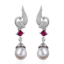 GP Freshwater Pearl,African Ruby and Kanchanaburi Blue Sapphire Peacock Earrings (with Push Back) in Platinum Overlay Sterling Silver 9.000 Ct.