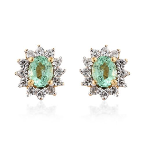 Boyaca Colombian Emerald (Ovl), Natural White Cambodian Zircon Earrings (with Push Back) in 14K Gold Overlay Sterling Silver 1.000 Ct.
