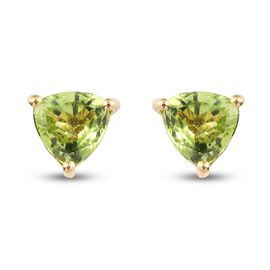 Peridot Solitaire Stud Push Post Earring in 14K Gold Overlay Sterling Silver 1.50 ct  1.500  Ct.