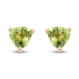 Natural Hebei Peridot Solitaire Stud Push Post Earring in 14K Gold Overlay Sterling Silver 1.50 Ct