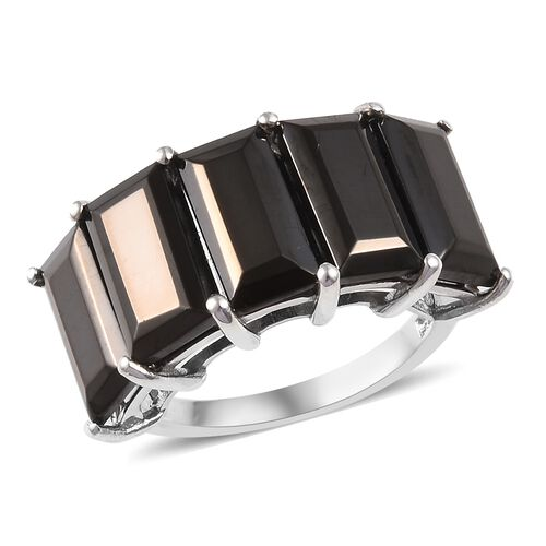 4.50 Ct Carat Elite Shungite 5 Stone Ring in Platinum Plated Sterling Silver