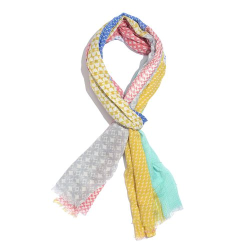 100% Modal Pink, Yellow and Multi Colour Hand Screen Printed Scarf (Size 180x70 Cm)