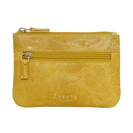 Assots London Mary 100% Genuine Leather Zip Top Coin Purse in Yellow (Size 12.5x8.5cm)