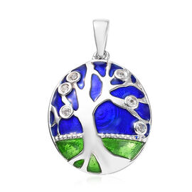 GP Natural Cambodian Zircon and Blue Sapphire Tree Pendant in Rhodium Plated Sterling Silver