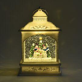 Decorative Lantern Glitter Spinner Snowmen with Christmas Tree (Size 13x22 Cm) - White (3xAA Battery