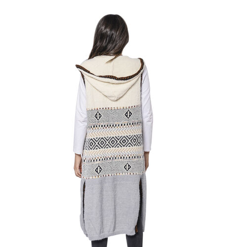 LA MAREY Cream and Light Grey Tribal Pattern Long Hooded Vest Cardigan (Size upto 22)