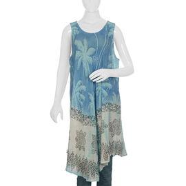 Palm Tree Pattern Apparel (Size 133x117 Cm) - Blue