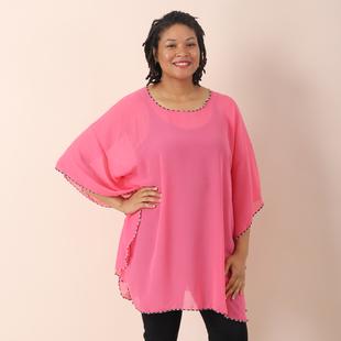 JOVIE Solid Colour Chiffon Kaftan - Pink