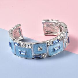 Blue Glass ,  White Swarovski Crystal  Bangle 3.00 ct  3.000  Ct.