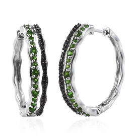 GP Russian Diopside (Rnd), Boi Ploi Black Spinel and Kanchanaburi Blue Sapphire Hoop Earrings in Platinum Overlay Sterling Silver 2.000 Ct, Silver wt 6.33 Gms.