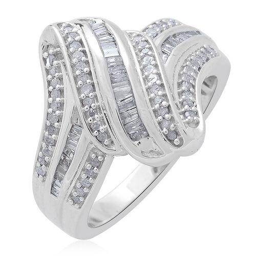 Designer Inspired - Diamond (Bgt) Ring in Platinum Overlay Sterling Silver 0.500 Ct.