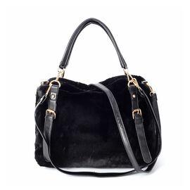 Black Colour Faux Fur Tote Bag with Removable Shoulder Strap (Size 34x27x11 Cm)