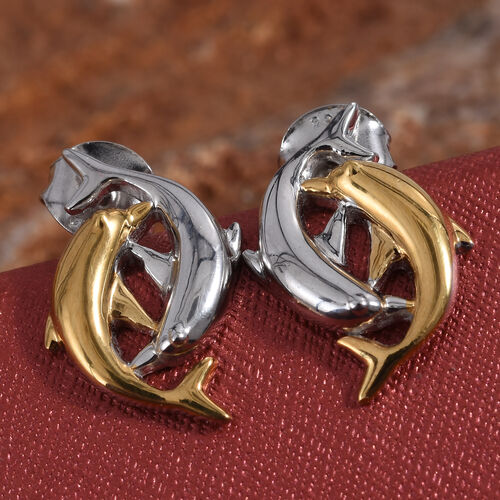 Platinum and Yellow Gold Overlay Sterling Silver Dolphin Earrings (with Push Back)