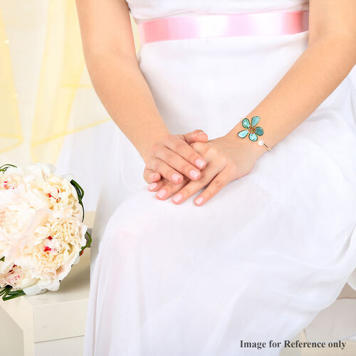 Fuchsia Colour Austrian Crystal, Simulated Emerald and White Shell Pearl Floral Cuff Bangle (Size 7.5) in Yellow Gold Tone