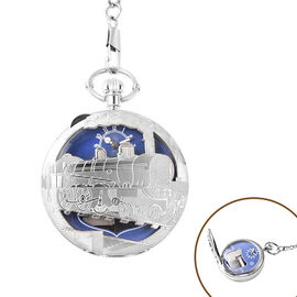STRADA Japanese Movement Train Pattern Water Resistant Music Pocket Watch with Chain (Size 14) in Si