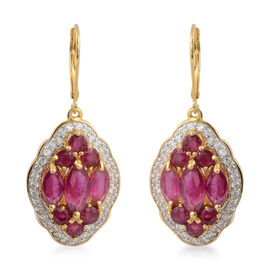 9.88 Ct African Ruby and Cambodian Zircon Drop Earrings in Gold Plated Sterling Silver 8.22 Grams