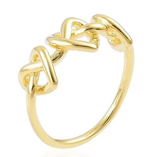 Lucy Q Yellow Gold Overlay Sterling Silver Entwined Heart Ring
