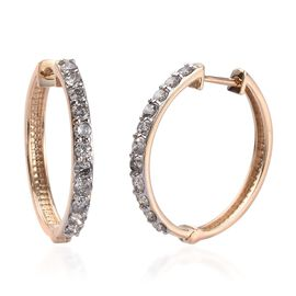 Limited Edition- 9K Yellow Gold SGL Certified Diamond (I3/G-H) Hoop Earrings (with Clasp Lock) 1.00