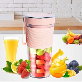 Super Auctions - Rechargeable and Portable 350 ml Juicer Blender with Three Blades - Pink