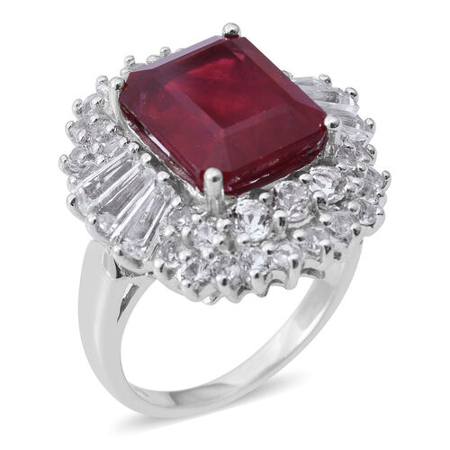 African Ruby (Oct 9.00 Ct), White Topaz Ring in Rhodium Plated Sterling Silver 12.500 Ct., Silver wt 6.75 Gms.