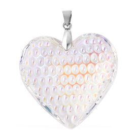 Simulated White Mystic Topaz Heart Pendant in Rhodium Plated Sterling Silver