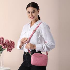 SENCILLEZ 100% Genuine Leather Snakeskin Pattern Crossbody Bag with Detachable Strap and Zipper Closure (Size 20x5x13cm) - Pink
