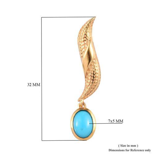 SLEEPING BEAUTY TURQUOISE (1.25 Ct) 14K Gold Overlay Sterling Silver Earring  1.450  Ct.