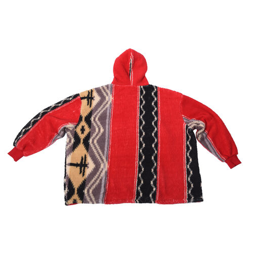 Tribal Pattern Hooded Sweatshirt (Size 194x98cm) - Black and Red