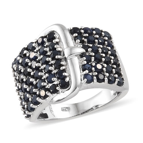 Kanchanaburi Blue Sapphire (Rnd) Buckle Ring in Platinum Overlay Sterling Silver 2.750 Ct, Silver wt