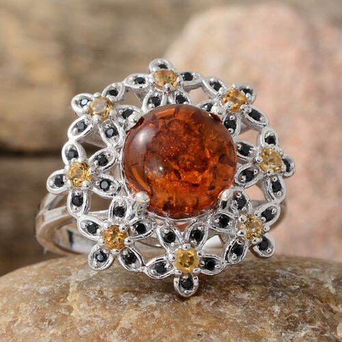 Baltic Amber (Rnd 1.50 Ct), Boi Ploi Black Spinel and Citrine Flower Ring in Platinum Overlay Sterling Silver 2.250 Ct. Silver wt 5.15 Gms.