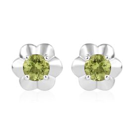 AA Hebei Peridot Floral Stud Earrings (with Push Back) in Platinum Overlay Sterling Silver 1.50 Ct.