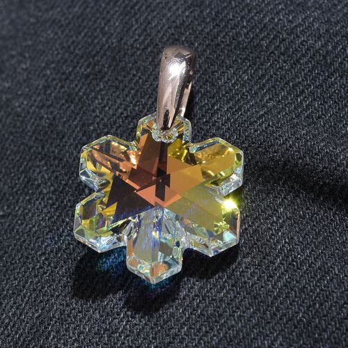 J Francis Crystal from Swarovski - AB Colour Crystal Pendant in Rose Gold Overlay Sterling Silver