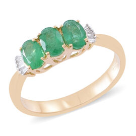 ILIANA 1.3 Ct Zambian Emerald and Diamond 3 Stone Design Ring in 18K Gold 3.5 Grams