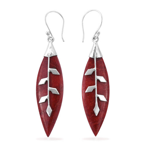 Royal Bali Collection Sponge Coral (Mrq) Leaf Hook Earrings in Sterling Silver